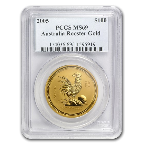 2005 1 oz Gold Lunar Year of the Rooster MS-69 PCGS (Series I)