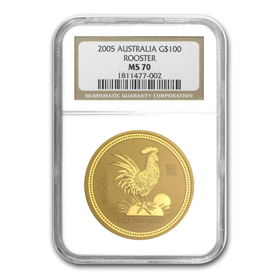 2005 1 oz Gold Lunar Year of the Rooster MS-70 NGC (Series I)