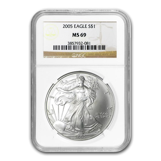 2005 American Silver Eagle MS-69 NGC