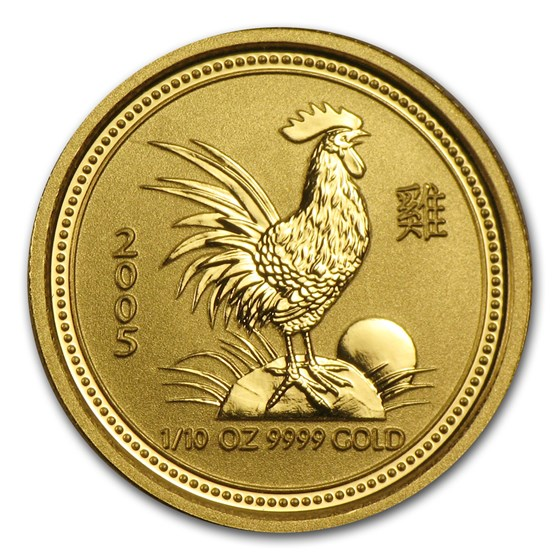 2005 Australia 1/10 oz Gold Lunar Rooster BU (Series I)