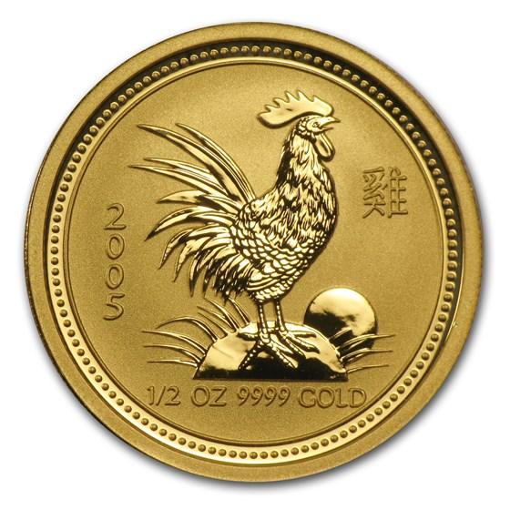 2005 Australia 1/2 oz Gold Lunar Rooster BU (Series I)