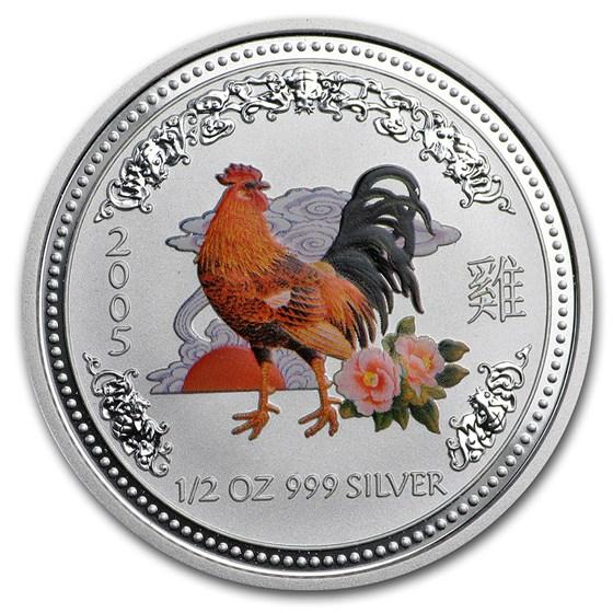2005 Australia 1/2 oz Silver Rooster BU (Series I, Colorized)