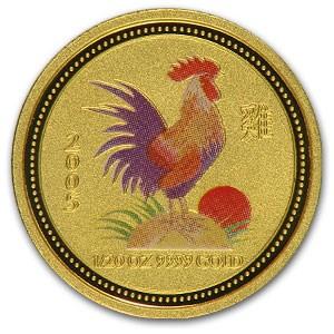2005 Australia 1/20 oz Gold Lunar Rooster BU (SI, Colorized)