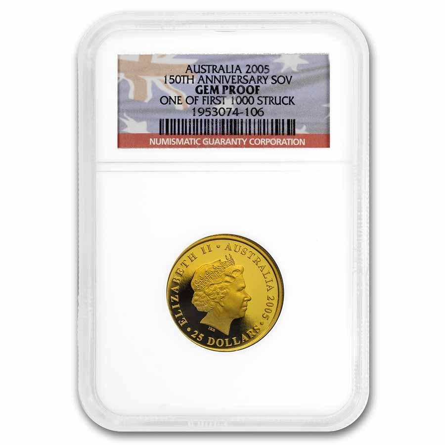 2005 Australia Proof Gold $25 Sovereign Gem Proof NGC