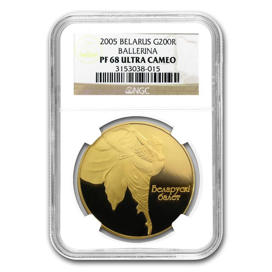 2005 Belarus Gold 200 Rouble Ballerina PF-68 NGC