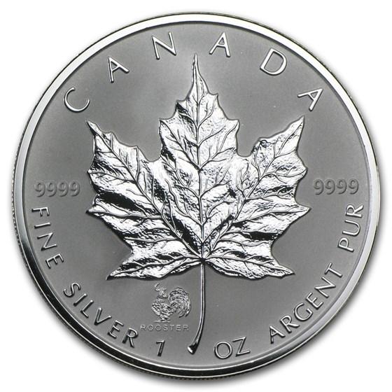 2005 Canada 1 oz Silver Maple Leaf Lunar Rooster Privy