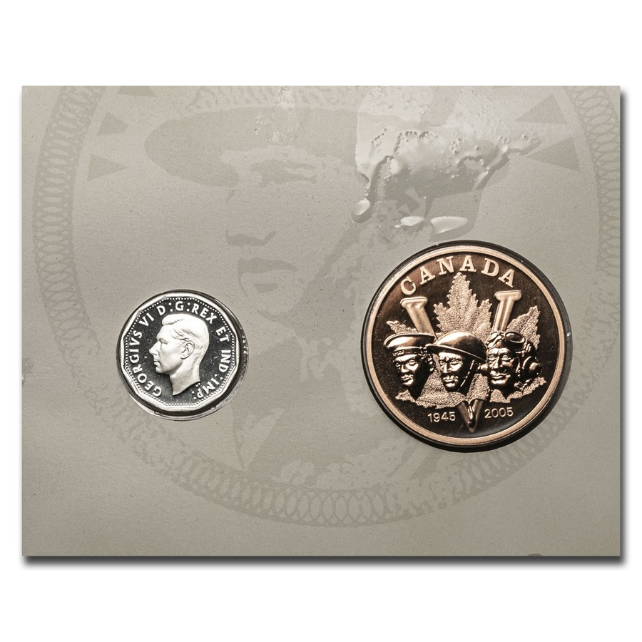 2005 Canada 2-Coin Silver/Bronze Victory in Europe Proof Set