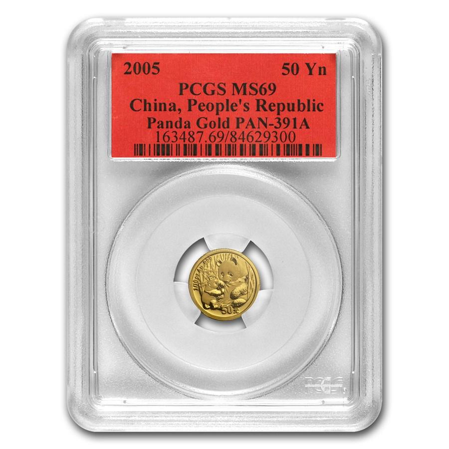 2005 China 1/10 oz Gold Panda MS-69 PCGS
