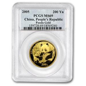 2005 China 1/2 oz Gold Panda MS-69 PCGS