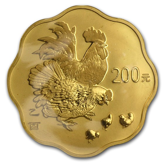 2005 China 1/2 oz Gold Year of the Rooster Flower Coin