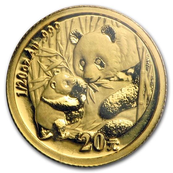 2005 China 1/20 oz Gold Panda BU (Sealed)