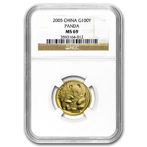 2005 China 1/4 oz Gold Panda MS-69 NGC