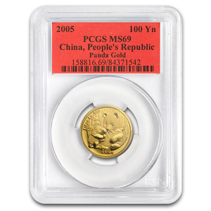 2005 China 1/4 oz Gold Panda MS-69 PCGS
