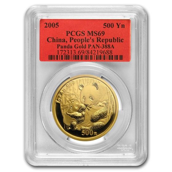 2005 China 1 oz Gold Panda MS-69 PCGS
