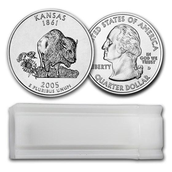2005-D Kansas Statehood Quarter 40-Coin Roll BU