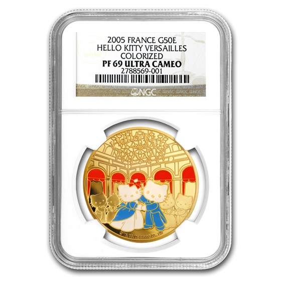 2005 France Proof Gold 50 Euro Hello Kitty Colorized PF-69 NGC