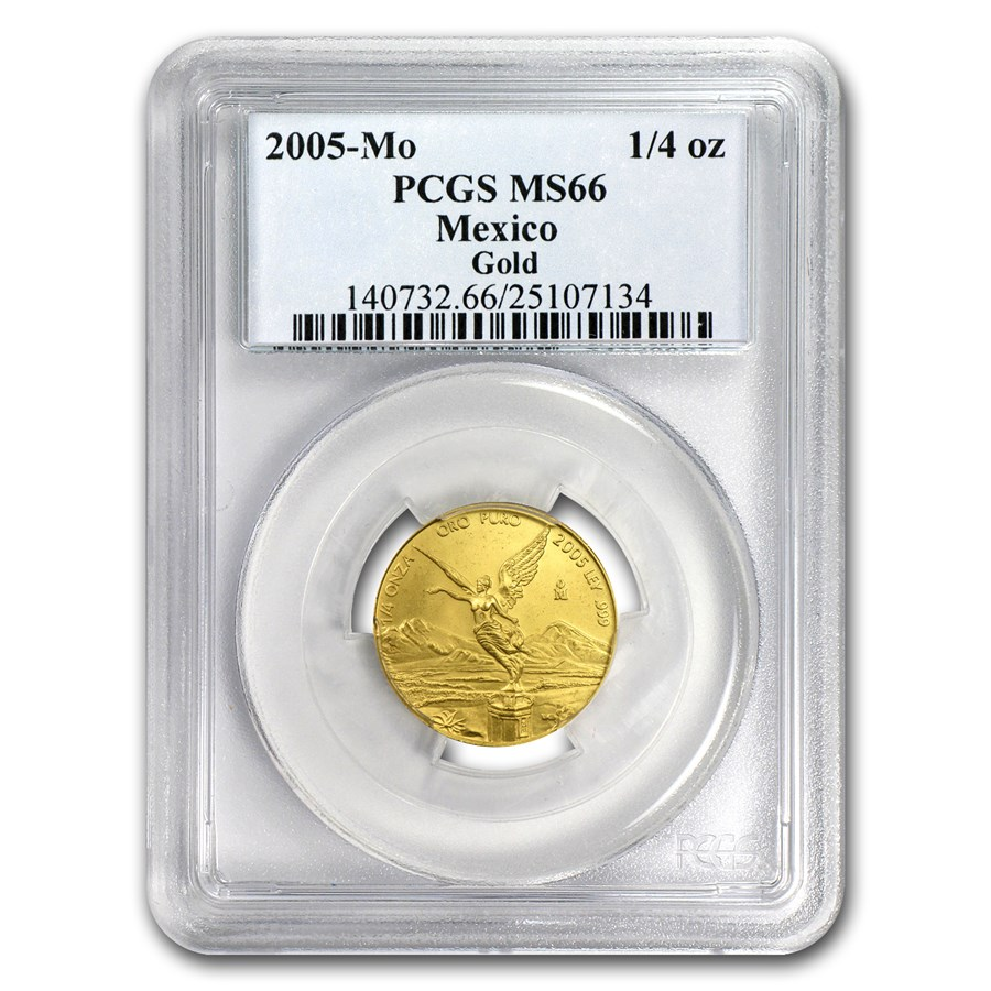 2005 Mexico 1/4 oz Gold Libertad MS-66 PCGS