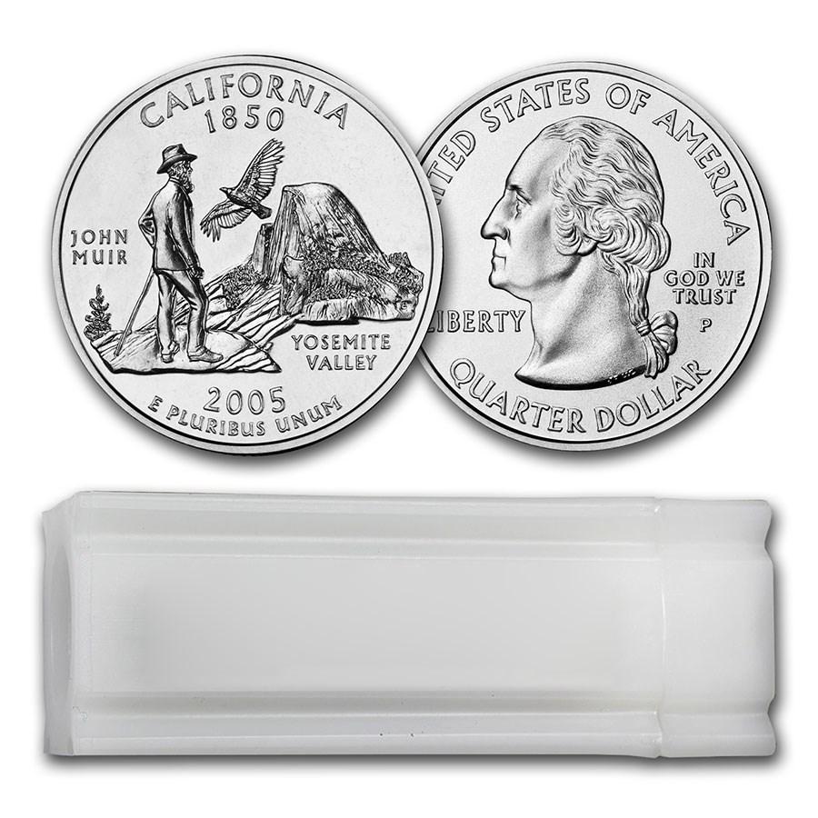 2005-P California Statehood Quarter 40-Coin Roll BU