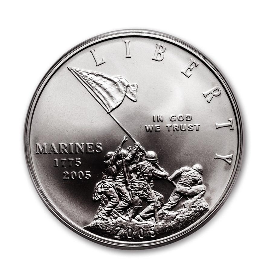 2005-P Marine Corps 230th Anniv $1 Silver Commem BU (w/Box & COA)