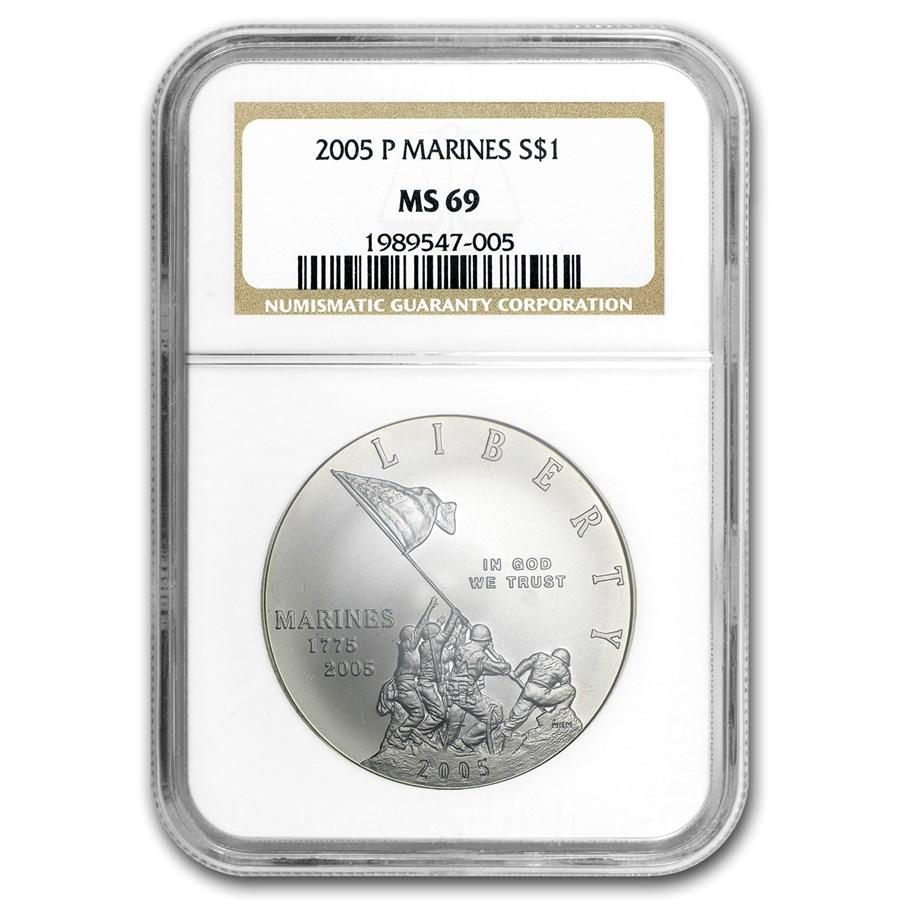 2005-P Marine Corps 230th Anniv $1 Silver Commem MS-69 NGC