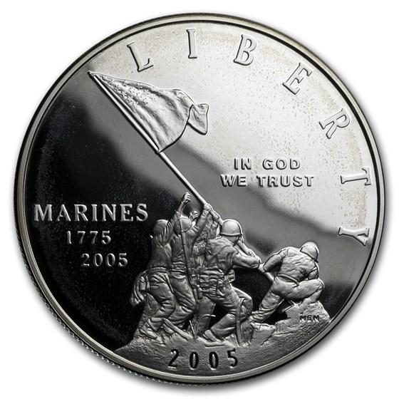 2005-P Marine Corps 230th Anniv $1 Silver Commem Proof (Box/COA)