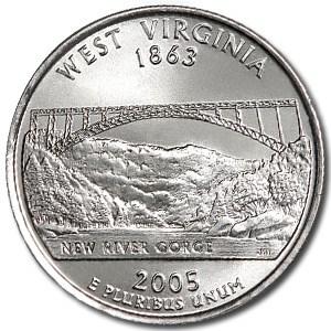 2005-P West Virginia State Quarter BU