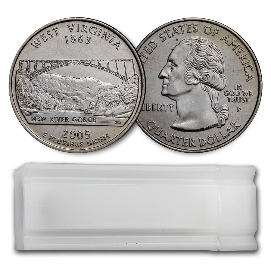 2005-P West Virginia Statehood Quarter 40-Coin Roll BU