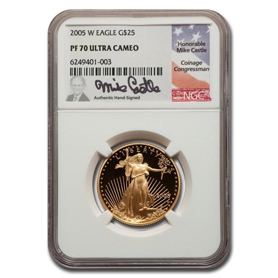 2005-W 1/2 oz Proof American Gold Eagle PF-70 NGC UC (Castle)