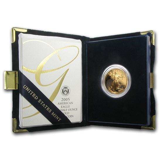 2005-W 1/2 oz Proof American Gold Eagle (w/Box & COA)