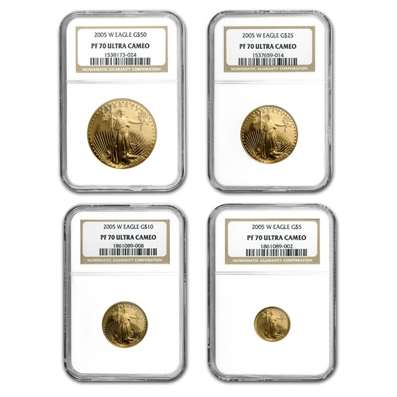2005-W 4-Coin Proof American Gold Eagle Set PF-70 NGC