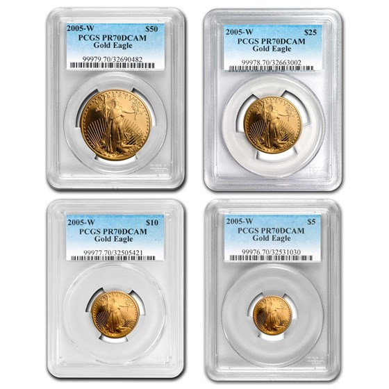 2005-W 4-Coin Proof American Gold Eagle Set PR-70 PCGS