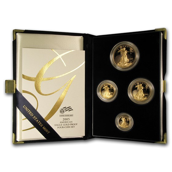 2005-W 4-Coin Proof American Gold Eagle Set (w/Box & COA)