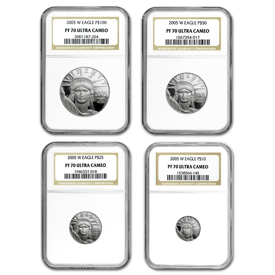 2005-W 4-Coin Proof Platinum American Eagle Set PF-70 NGC