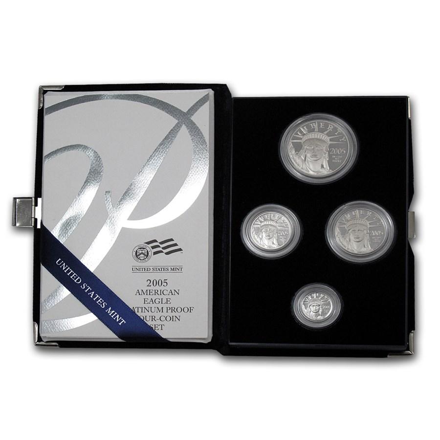 2005-W 4-Coin Proof Platinum American Eagle Set (w/Box & COA)