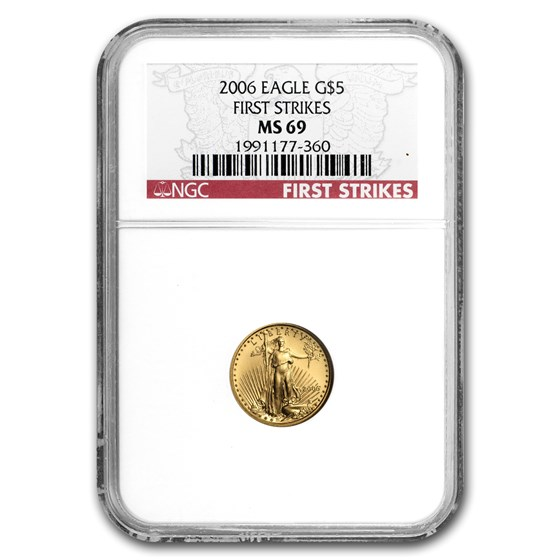 2006 1/10 oz American Gold Eagle MS-69 NGC (First Strikes)