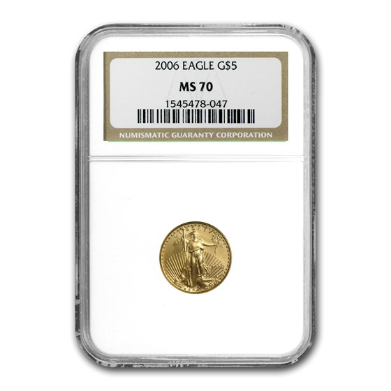 2006 1/10 oz Gold American Eagle MS-70 NGC