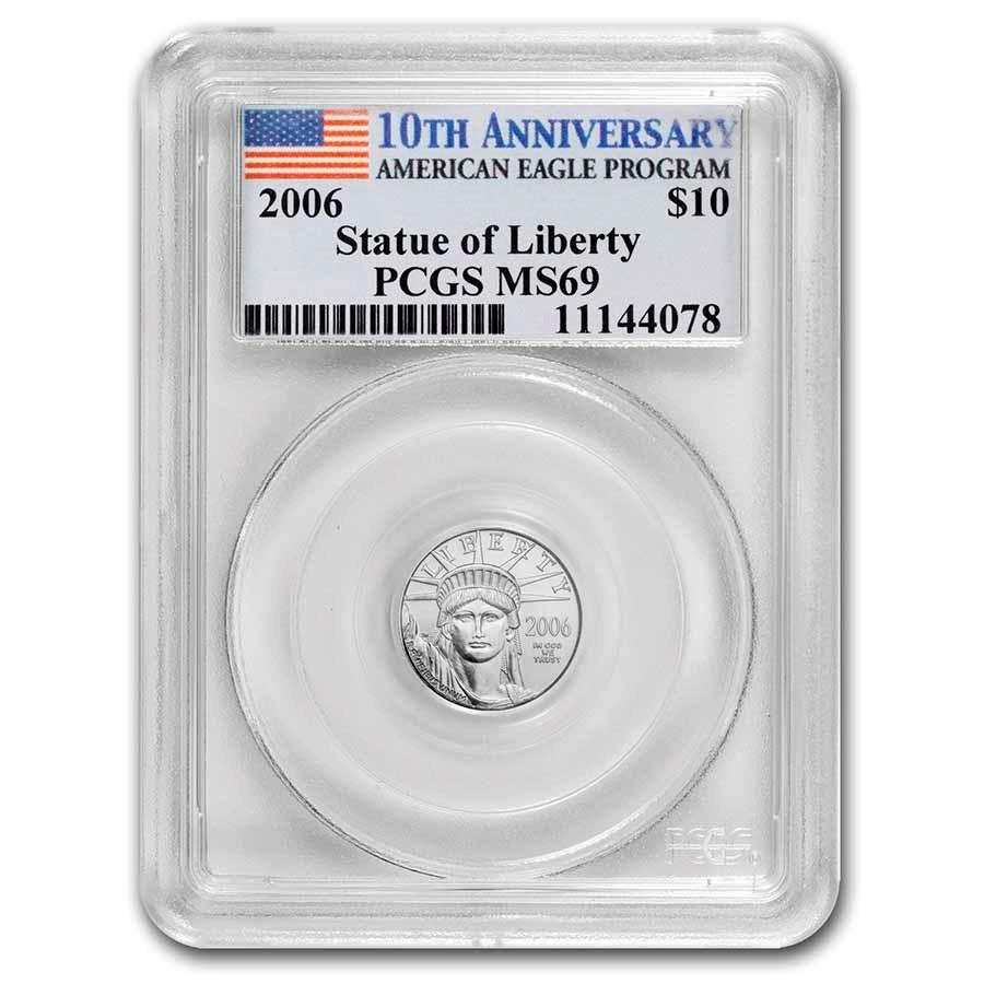 2006 1/10 oz Platinum Eagle MS-69 PCGS (10th Anniversary Label)