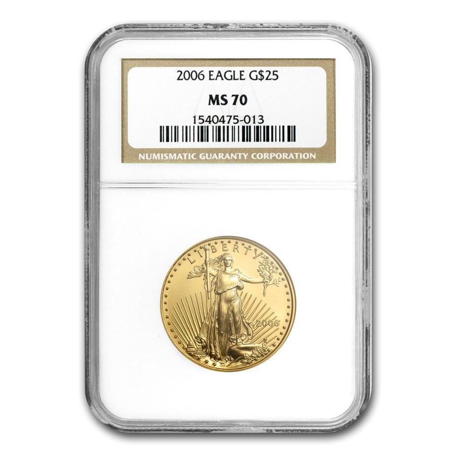 2006 1/2 oz Gold American Eagle MS-70 NGC