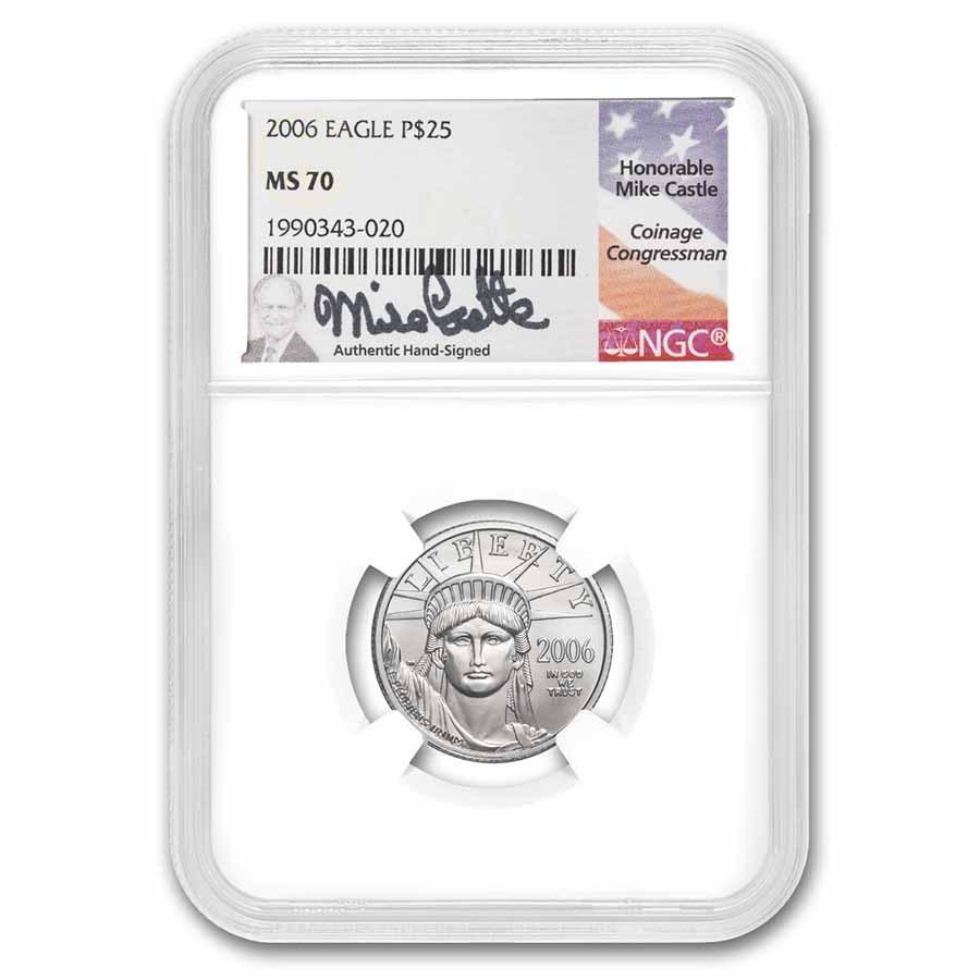 2006 1/4 oz Platinum Eagle MS-70 NGC (Mike Castle Signed)