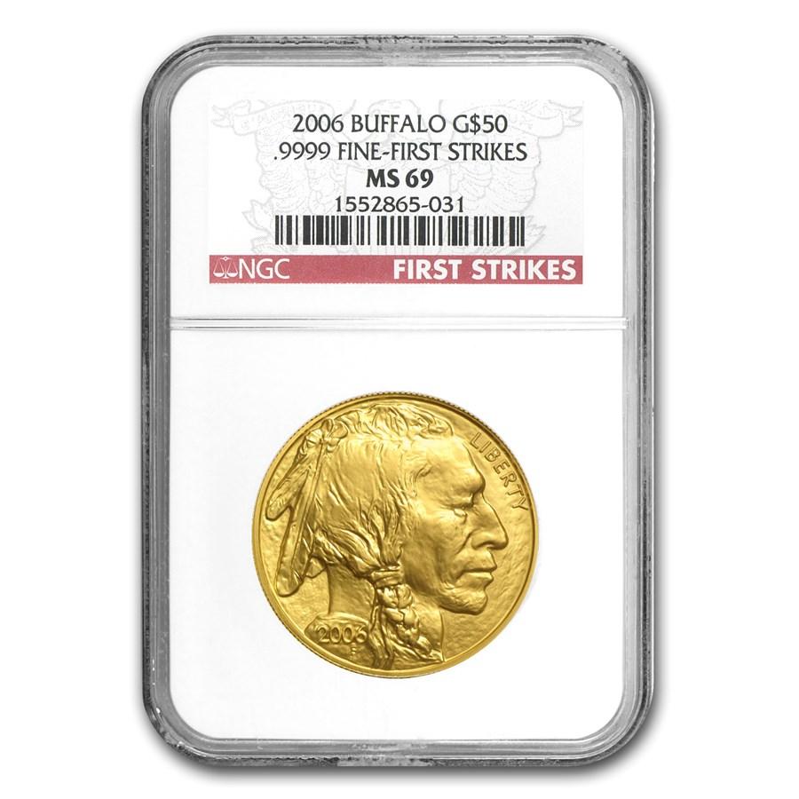 2006 1 oz Gold Buffalo MS-69 NGC (First Strikes)