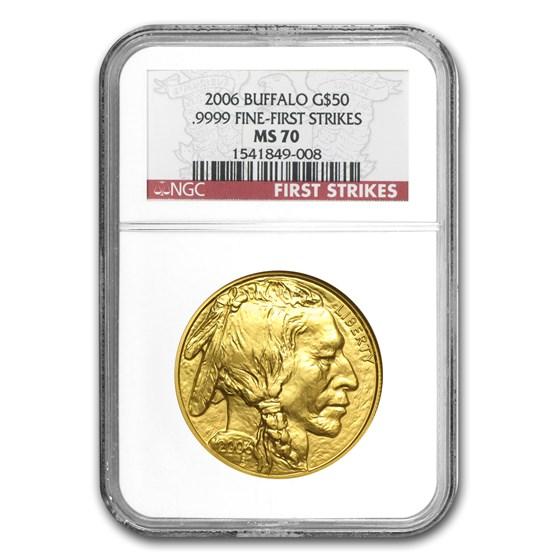 2006 1 oz Gold Buffalo MS-70 NGC (First Strikes)