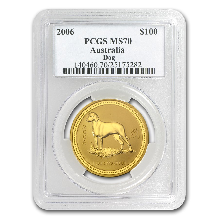 2006 1 oz Gold Lunar Year of the Dog MS-70 PCGS (Series I)