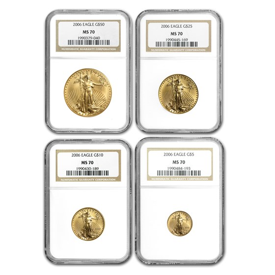2006 4-Coin American Gold Eagle Set MS-70 NGC