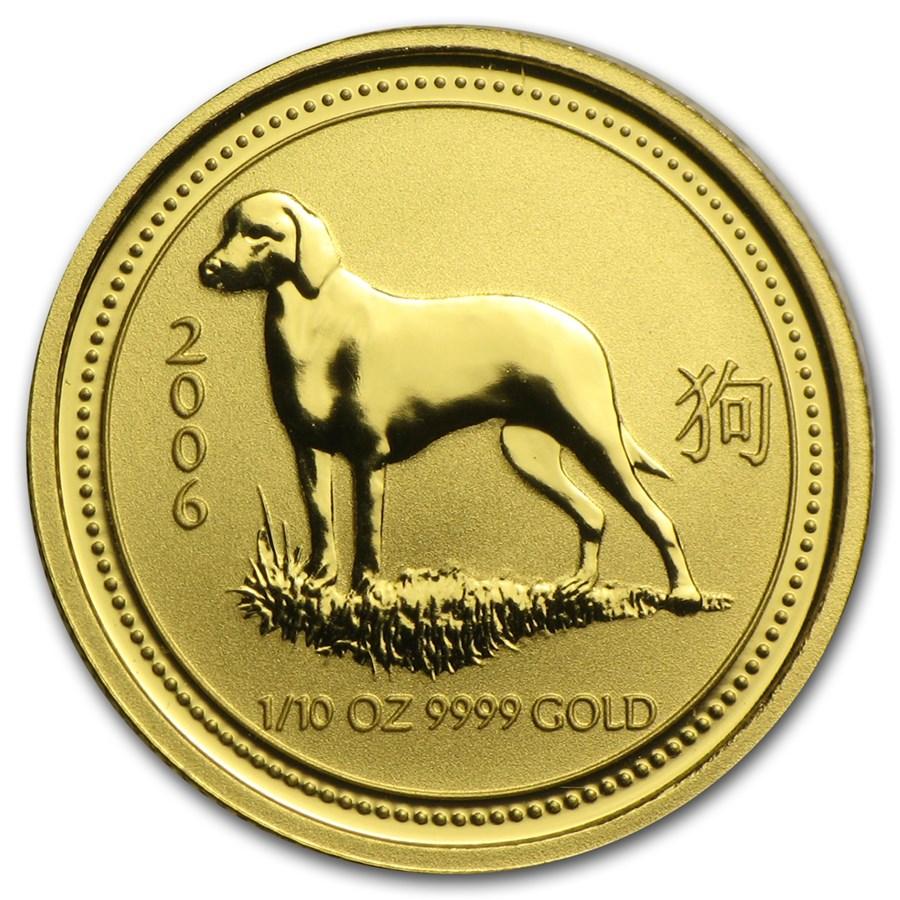 2006 Australia 1/10 oz Gold Lunar Dog BU (Series I)