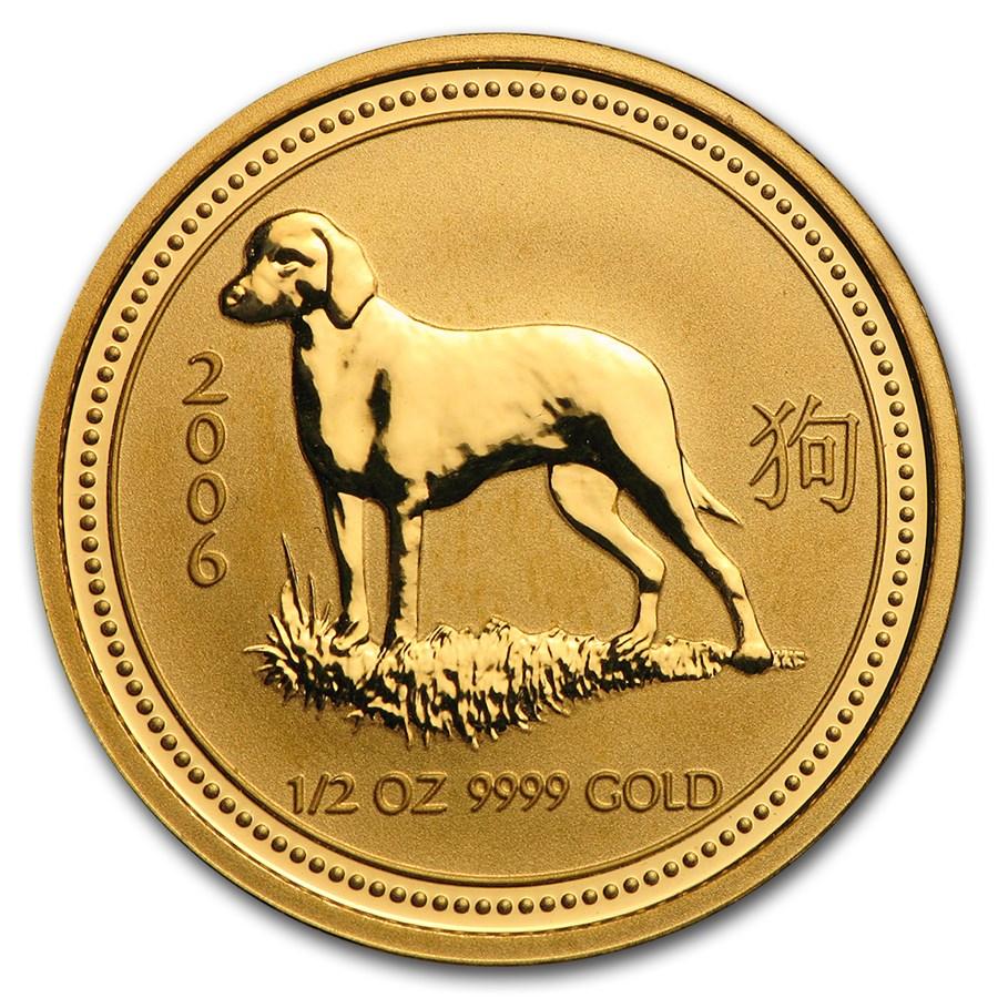 2006 Australia 1/2 oz Gold Lunar Dog BU (Series I)