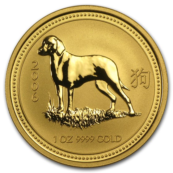 2006 Australia 1 oz Gold Lunar Dog BU (Series I)