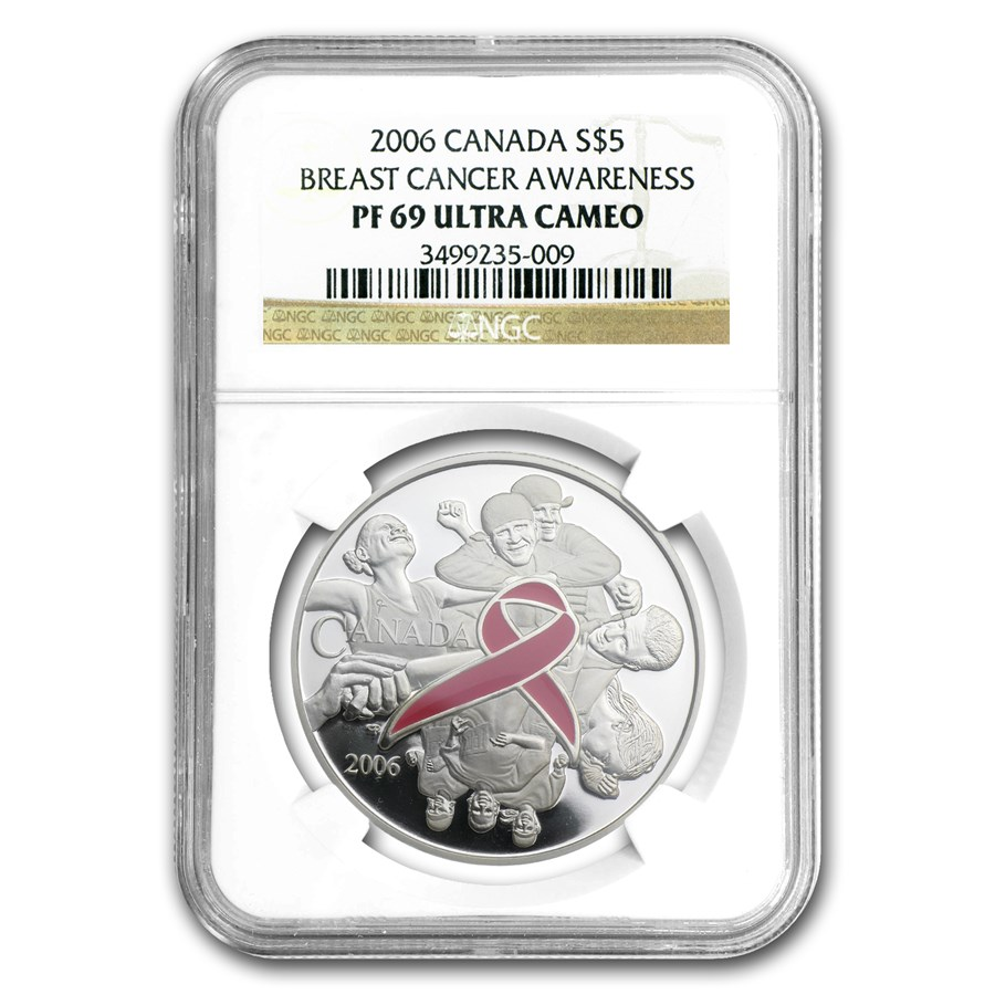 2006 Canada 1 oz Silver $5 Breast Cancer Awareness PF-69 NGC