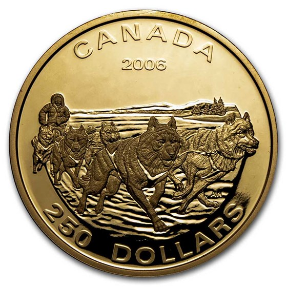 2006 Canada Proof Gold $250 Dog Sled Team (No Outer Box)