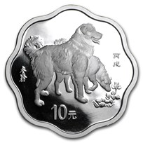 2006 China 1 oz Silver Flower Year of the Dog (w/Box & COA)