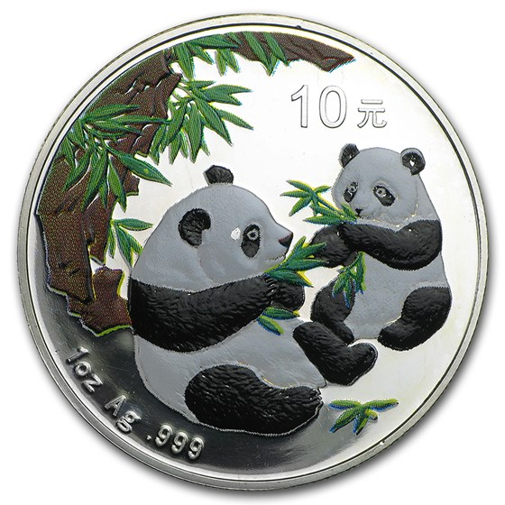 2006 China 1 oz Silver Panda (Colorized, Light Abrasions)